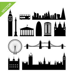 London england landmark silhouettes vector