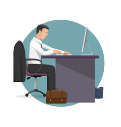 manager working on computer vector image