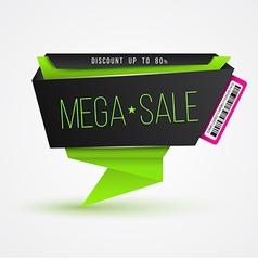 Mega sale banner origami modern style vector image