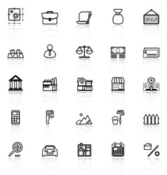 Mortgage and home loan line icons with reflect on vector