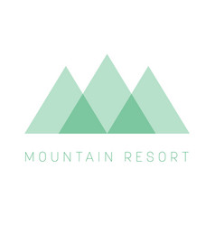 Mountain resort logo template green triangle vector