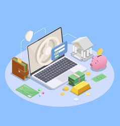 Online banking isometric composition vector