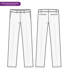 Pants formal trousers fashion flat technical vector