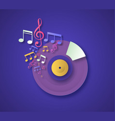 paper cut vinyl cd music note concept vector image