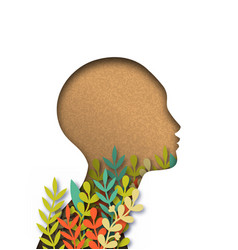 papercut woman head with colorful paper leaves vector image