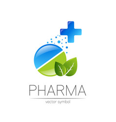 Pharmacy symbol with green leaf and cross vector