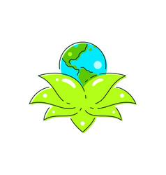 planet earth inside lotus flower petals vector image