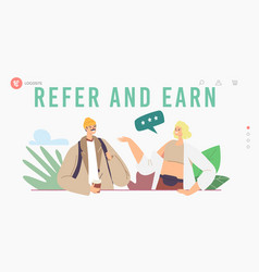 refer and earn landing page template characters vector image