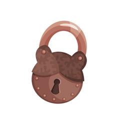 retro bronze old padlock vector image