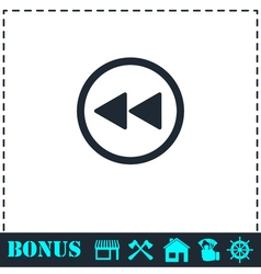 Rewind icon flat vector