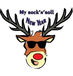 Rock-n-roll new years deer in glasses vector