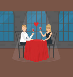 romantic loving couple sitting in restaurant or vector image