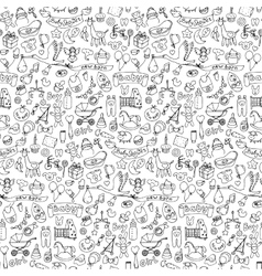 Seamless pattern with baby doodle elements vector image