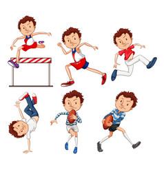 set male sport athletes vector image