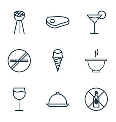 set of 9 meal icons includes bowl steak vector image