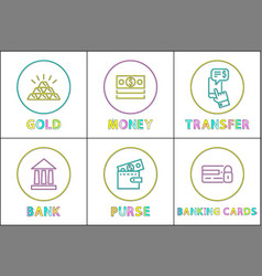 set of finance money and bank icons in vector image