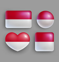 Set of glossy buttons with indonesia country flag vector