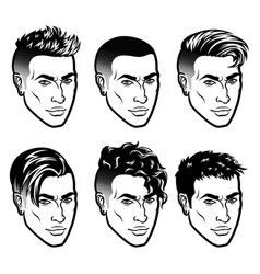 Set of men face hipster head with haircuts vector