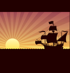 Ship sailing sunset vector