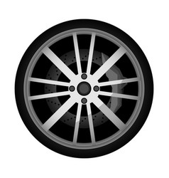 side view modern car wheel icon vector image