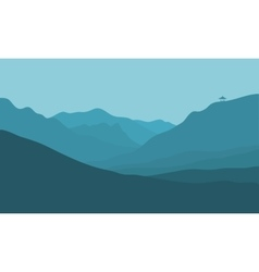 Silhouette of mountain in fog vector