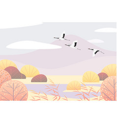 Simple autumn lanscape with flying japanese vector
