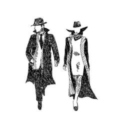 stylish man and woman sketch vector image