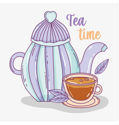 tea time sketch flat design vector image