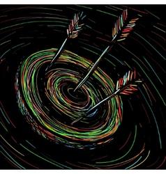 the arrow hit target vector image