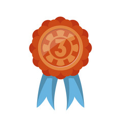 Third place trophy badge with ribbon vector
