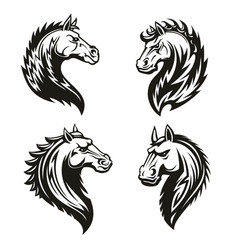 tribal horse heads mascot or tattoo vector image
