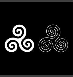 Triskelion or triskele symbol sign icon set white vector