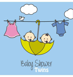 Twins baby shower vector