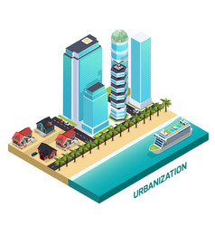 Urbanization isometric composition vector