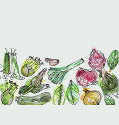 Vegetables hand-drawn watercolor background with vector