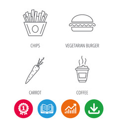 Vegetarian burger chips and coffee icons vector