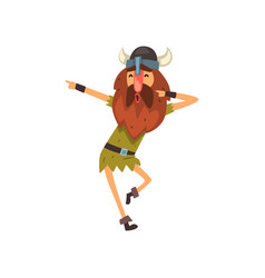Viking in tradition clothing dancing medieval vector