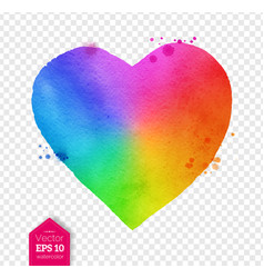 Watercolor sketch of rainbow colored heart vector