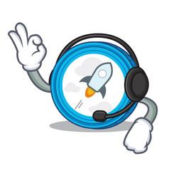 With headphone stellar coin character cartoon vector