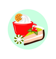 xmas dessert icons hot drink and cake winter vector image