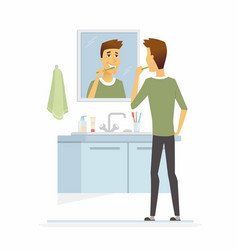 Young man brushing his teeth - cartoon people vector