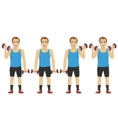 Young man doing dumbbell exercises vector image