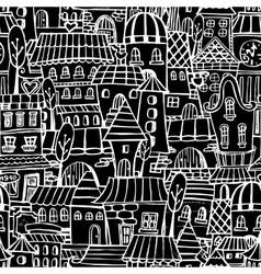 Cartoon fairy tale drawing houses seamless pattern vector image vector image