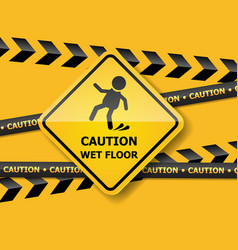 caution wet floor on yellow wall vector image