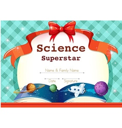 Certificate template with science theme vector