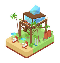 tropical bungalow with jet ski beach isometric vector image