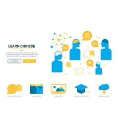 Learn chinese concept website vector image