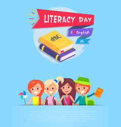 literacy day light-blue on vector image vector image