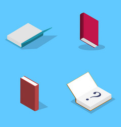Set of flat books in 3d vector
