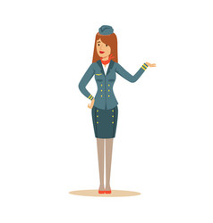 stewardess in blue uniform doing a welcome gesture vector image
